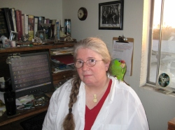 Kage Baker and Harry the Parrot